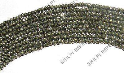 "1PC 14"" Natural Gold Pyrite 3x4mm rondelle faceted gemstone elegant beads strand"