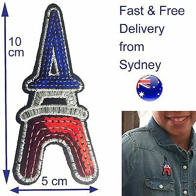 Sequin Eiffel Tower iron on patch French Paris Tricolore France So Frenchy art