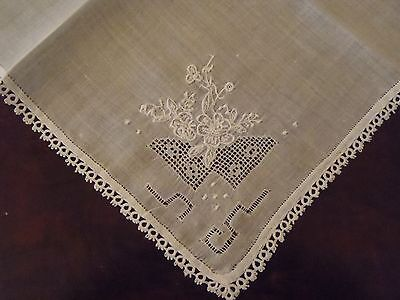 Vintage Lady's Handkerchief white embroidery tatted border wedding prom bride