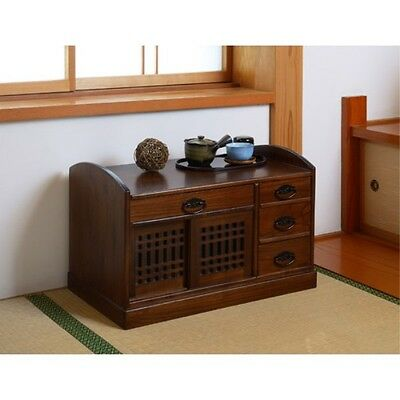 """Japanese Folk Furniture Convenient Low Chest """" Cha-tansu"""" made from paulownia."""