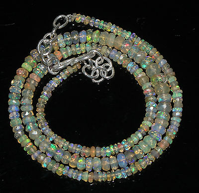 """30TCW 15"""" 2to5mm Natural Ethiopian Welo Fire Opal Faceted Beads Necklace 97281"""