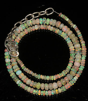 """33 Carat 16"""" 2 to 4.5 mm Natural Ethiopian Welo Fire Opal Beads Necklace  --1016"""