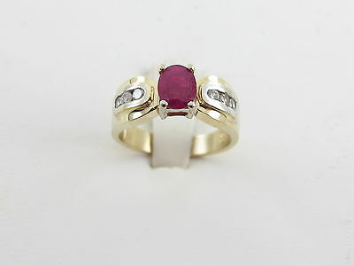 14K Yellow And White Gold Diamond Ruby Ring Size 6 1/2