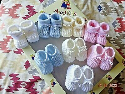 Newborn Baby Blue/Pink/Cream Boy/Girl Drawstring Knitted Bow Bootee/Bootie Socks