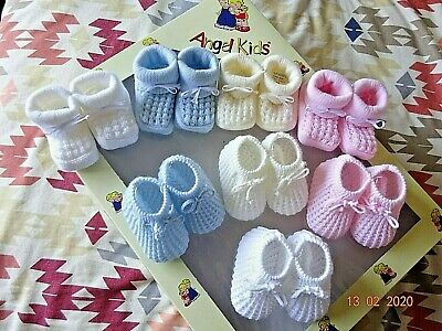 Newborn Baby Blue/Pink/Cream Boy/Girl Drawstring Knitted Bow Booties Socks 0-3 m