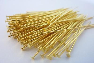 160 pce Straight Gold Tone Head Pins 50mm 24 Gauge Jewellery Making
