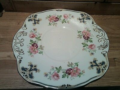 Vintage H And M Sutherland China Cake Plate Sandwich Pink Purple Floral Chintz