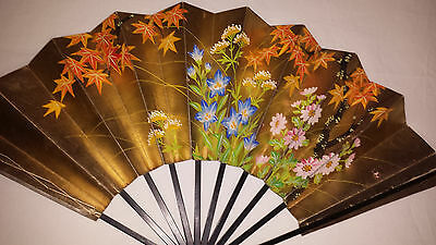 Vintage Handheld Double Sided Fan c1920/30s - Hand Painted Flowers