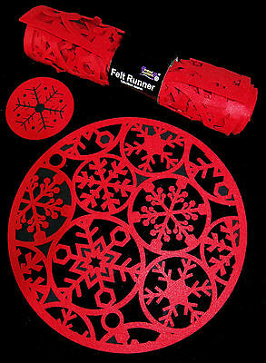 Complete Red Christmas Table Set - 8 Round Mats, Coasters And Runner