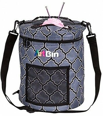 Yarn Drum Knitting and Crochet Tote Bag, Gray Print with Functional Mesh Pocket