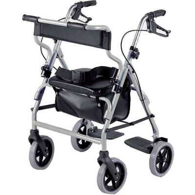 NRS Healthcare 2-in-1 Rollator and Transit Chair M58203 – Height Adjustable