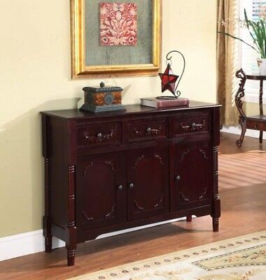 Wood Console Sideboard Table with Drawers and Storage, Elegant Cherry Finish