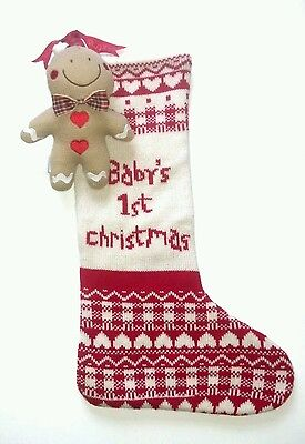 Bnwt Mothercare Gingerbread Stocking & Soft Teddy Baby's 1St Christmas Gift Set
