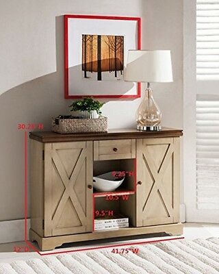 Kings Brand Antique White / Walnut Finish Wood Buffet Cabinet Console Table
