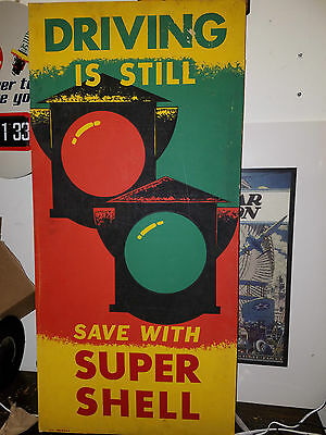 Vintage Shell Gas Oil Super Shell Advertising Sign Poster
