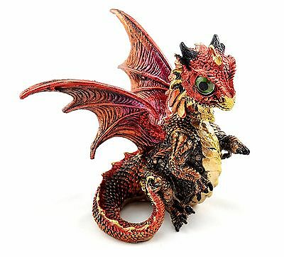 Dragon Baby Ornament Bobble Head Statue Figurine Sculpture Maroon 11 cm