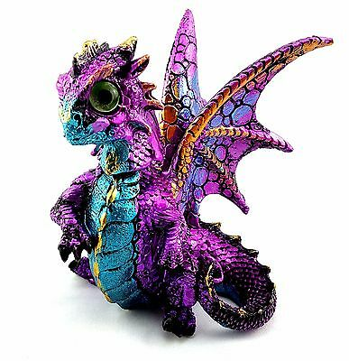 Dragon Baby Ornament Bobble Head Statue Figurine Sculpture Purple Blue 11 cm