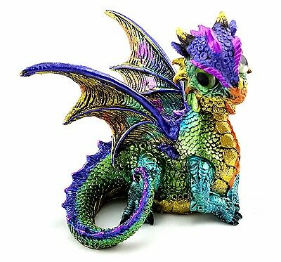 Dragon Baby Ornament Bobble Head Statue Figurine Sculpture Green Gold 11 cm
