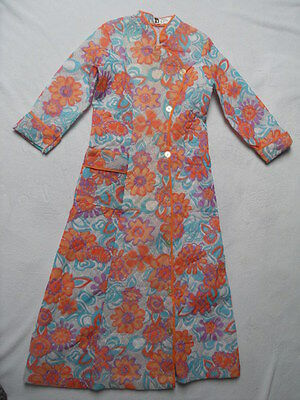 ORIGINAL 1960s/70s ABSTRACT FLORAL PATTERN HOUSE COAT