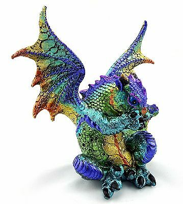 Dragon Ornament No Speak Evil Statue Figurine Sculpture Art Blue Green 15 cm