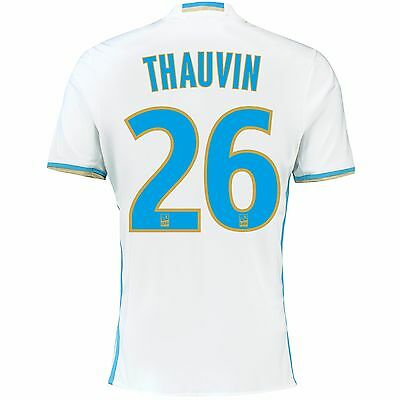 Adult 2XL Olympique de Marseille Home Shirt16/17 Thauvin 26 Ligue 1 Badge MA1
