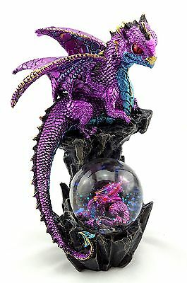 Dragon with Baby in Water ball Glitter Statue Figurine Ornament Sculpture 20 cm