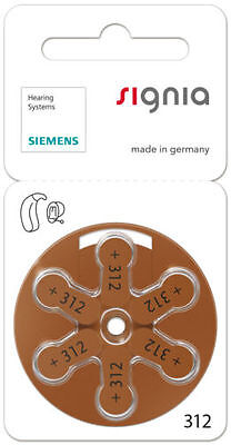Signia / Siemens hearing aid batteries (Size 312) - 10 cards (60 cells).