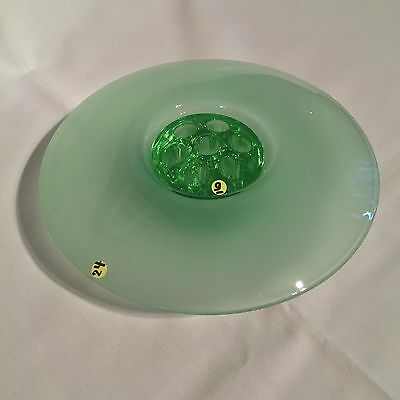 Bagley Frosted Green Posy Bowl & Frog - Art Deco Vintage