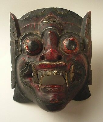 Antique Balinese Barong Wood Dance Mask- Early 1900's