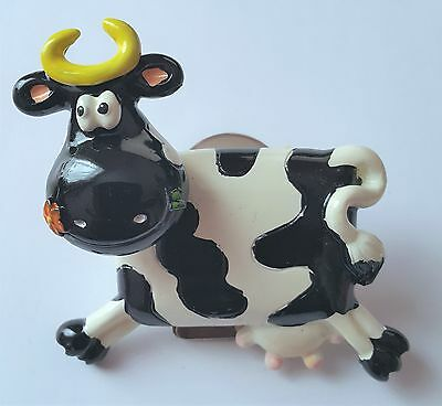 Novelty Bobblehead Cow Black And White Fridge Magnet With Message Holder