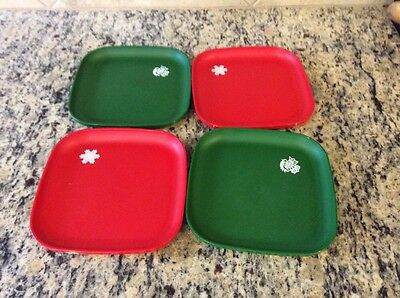 Vintage Tupperware Christmas Luncheon Plates Lunch Snack Red Green 1534 Set 4