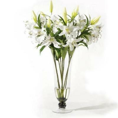 White Artificial Lily Silk Flower Plant Wedding Party Home Wedding Decor