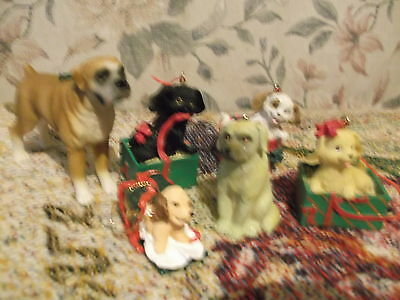 Lot of 6 Dog Christmas Ornaments  3 by SCF 1 Taiwan  2 in - 3 in