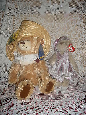 2 Jointed Plush Lady Bears in hats Cathy Brass Button & Darlene from Ty Attic