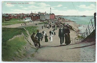 Vintage Postcard. Blackpool From The Cliffs. Used 1911.  Ref:6.45