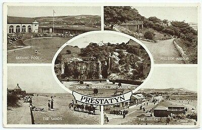 Vintage Postcard.   PRESTATYN Multiview. Used 1957.  Ref:6-342