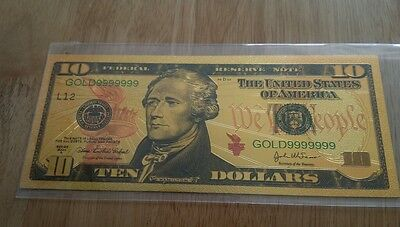 Colourized $10 United States Dollars 24K Gold Plated Commemorative Banknote