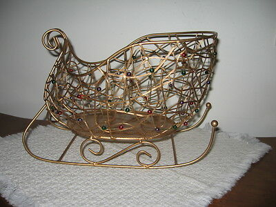 """Brass Colored Metal Wire & Bead Sleigh Christmas Tabletop Decor 11"""" Sled Basket"""