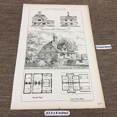 1877 original Architect print - Pair of Cottages at Killerton - building news -