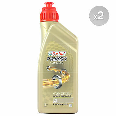Castrol Power 1 Racing 2T Fully Synthetic 2 Stroke Motorcycle Oil 2 x 1 Litre 2L