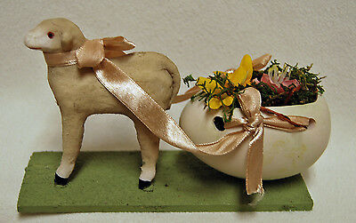Lamb Sheep Egg Cart Candy Container Paper Mache Figurine Easter