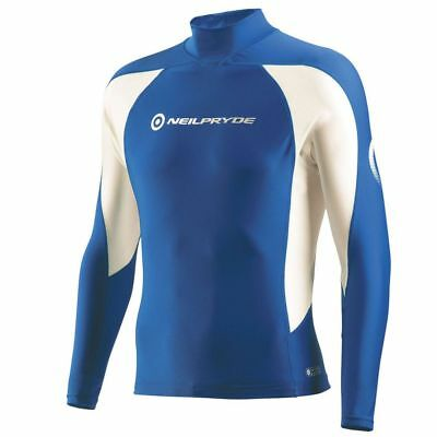 Mens Neil Pryde Long Sleeve Elite Rash Guard Vest Blue/White
