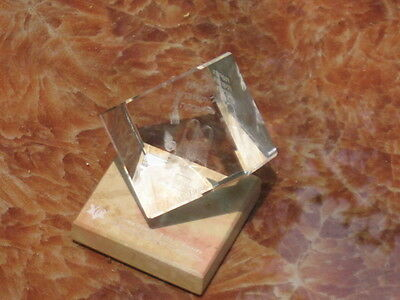 One Clear Glass Three Dimensional Cube Design With Jewish Symbols Inside Cube!