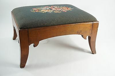 "Antique Footstool w/ Needlepoint top, Mahogany Footstool, English Style 17.25"" L"