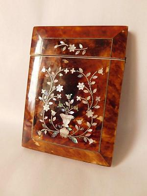 Late Victorian Faux / Tortoiseshell And Mother Of Pearl Inlaid Calling Card Case