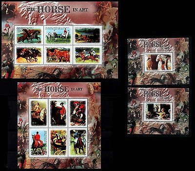 Cavalli Horses Pferde Chevaux Horse in art - 2 m/sheets + 2 S/S Gambia MNH