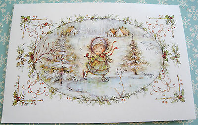 Unused Vtg Christmas Card Cute Mary Hamilton Girl Ice Skating in Winter Scene