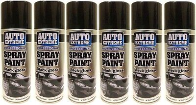6 x Black Gloss Spray Paint Can Auto Extreme Petrol Resistant Non Crack 400ml