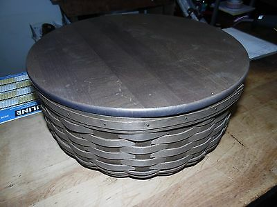 Longaberger Round Keeper Basket with liner, protector and lid.