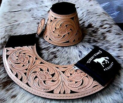 Pair Tooled Leather Black Inlay Bell Boots For Rodeo & Trails New Horse Tack